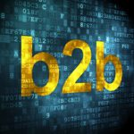 "b2b online marketing image with the word ""b2b"" in yellow amid a background of blue blocks"