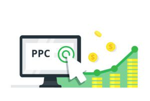 """ppc lead generation image with a monitor showing the acronym """"PPC"""" and a white arrow, with stacks of dollars next to it"""