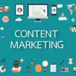 "b2b content marketing image with ""content marketing"" surrounded by various technology icons"