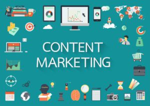 """b2b content marketing image with """"content marketing"""" surrounded by various technology icons"""