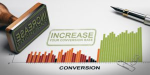 """lead conversion rate image showing the word """"increase"""" stamped across a bar graph titled """"conversion"""""""