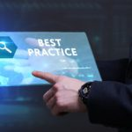 "digital marketing best practice image showing a tablet with the words ""best practice"" on it and a person's finger clicking on an area on the tablet"