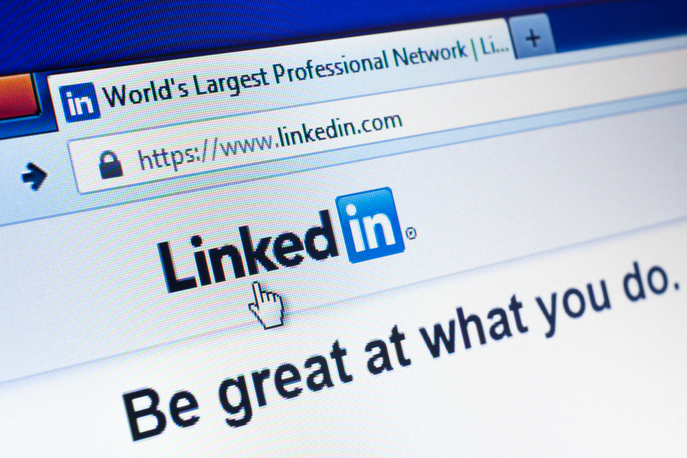 linkedin b2b lead generation image showing the linkedin home page on a web browser
